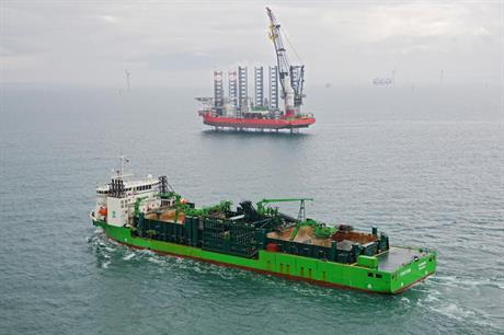 The Pacific Orca (in the background) completed the installation work