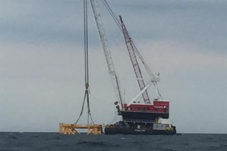 The first foundation has been installed at the 30MW Block Island project
