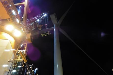The first turbine has been installed at Eneco Luchterduinen