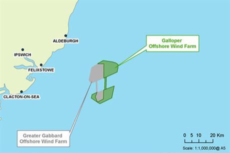 The Galloper project location shown off the Suffolk coast