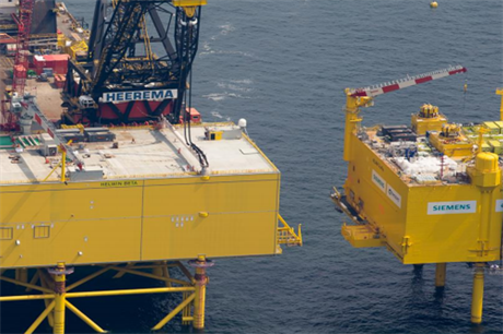 Siemens has installed a number of platforms in the North Sea, including HelWin2