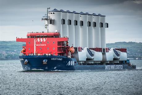 MHI Vestas new UWL vessel Vestvind has commenced transporting components to Belfast