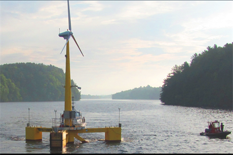 The University of Maine's prototype floating turbine, VolturnUS, off the coast of Maine