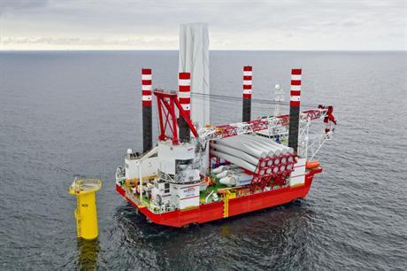 Seajack's Zaratan vessel at the Meerwind Offshore project