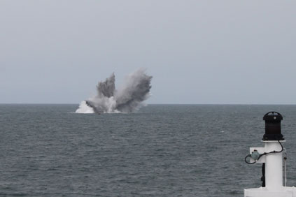 A controlled explosion at the Greater Gabbard wind farm