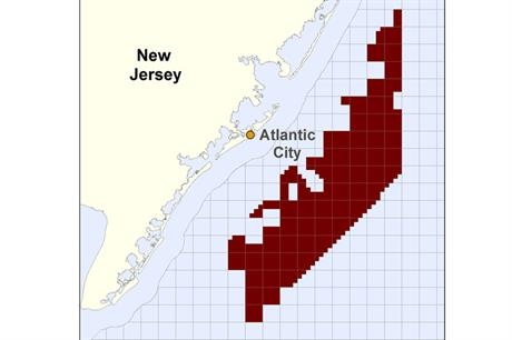 The proposed area for the development off the New Jersey coast