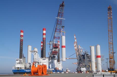 Turbine towers being loaded on to RWE's Victoria Mathias vessel