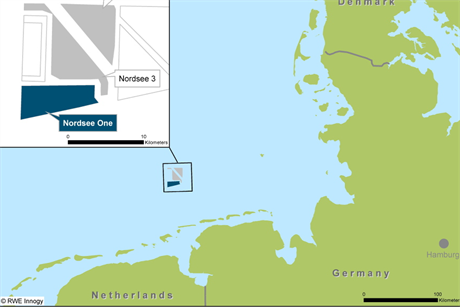 The Nordsee cluster is located 40 kilometres off the German coast