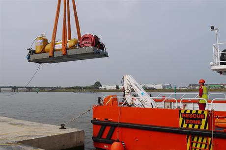 The equipment is loaded onto an access vessel