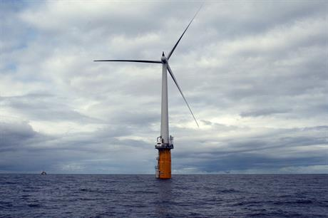 A demonstration Hywind turbine has been in operation off the coast of Norway since 2009