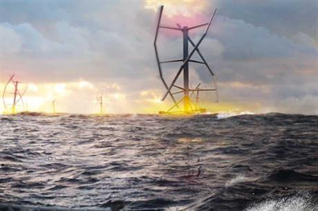 An digital impression of the Vertwind floating turbine