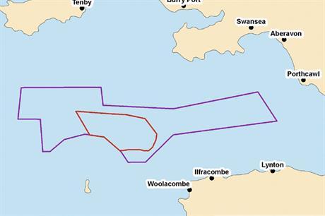 The location of Atlantic Array with the Devon coast bottom right