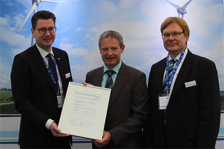 Left to right: DNV GL's head of certification Mike Wobbeking, ABB head of product management Stephan Ebner and DNV GL head of electrical systems Matthias-Klaus Schwarz at Husum