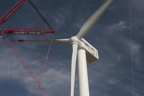 Sinovel's 6MW turbine being installed at Rudong