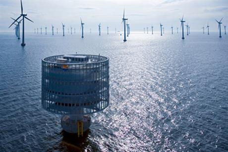 Power from wind turbines is transformed to high-voltage direct current for transmission