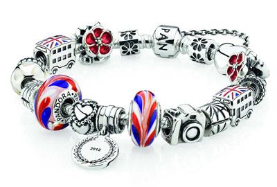 A Pandora bracelet featuring a British Rose Charm