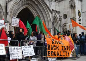 Victory: Southall Black Sisters celebrates outside the High Court