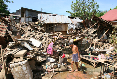Typhoon Haiyan caused huge damage in the Philippines