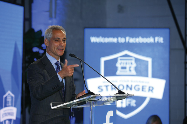 Mayor Rahm Emanuel spoke at the Facebook Fit event in Chicago about the important role small businesses play in the Windy City