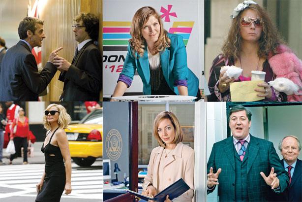 PR stereotypes: clockwise from top left, Malcolm Tucker, Siobhan Sharpe, Edina Monsoon, Samantha Jones, CJ Cregg, Charles Prentiss.