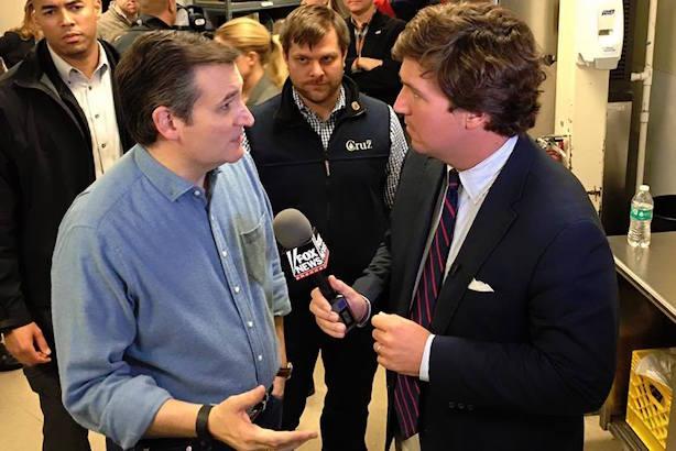 Cruz chatting with Fox News' Tucker Carlson. (Image via Cruz's Facebook page).