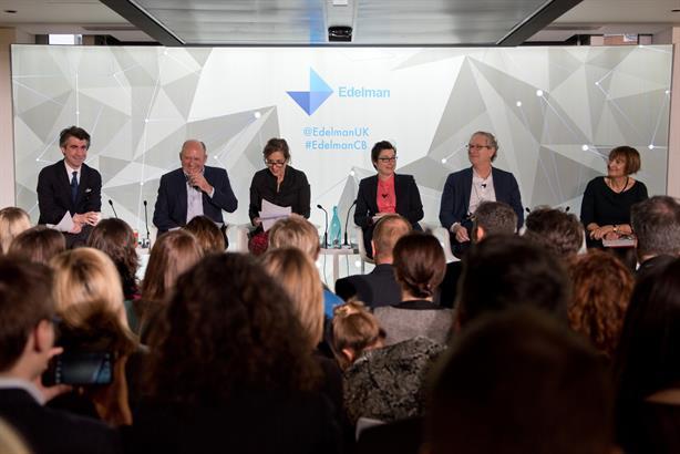 Panel: (l to r) Ed Williams, Michael Spencer, Kirsty Wark, Sue Perkins, John Witherow, Tessa Jowell