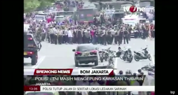 The aftermath of Thursday's terror attacks in Jakarta. (Image via The Washington Post's YouTube page).