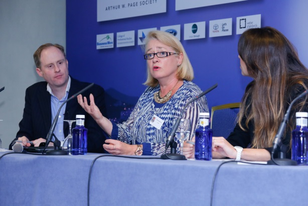Cargill's Penny Studholme speaks during a panel at the PRWeek Global Congress in Barcelona.
