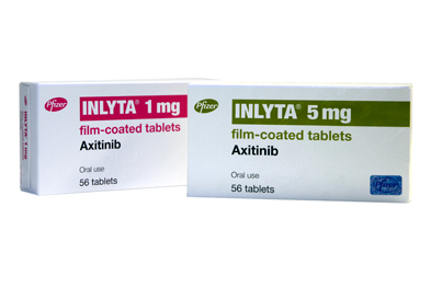 The recommended starting dose of axitinib is 5 mg twice daily, which is adjusted according to safety and tolerability