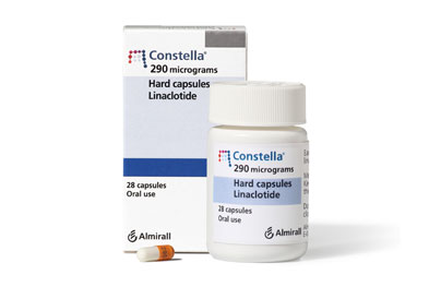 Constella (linaclotide) is a once-daily oral capsule that should be taken at least 30 minutes before a meal to reduce gastrointestinal adverse effects.