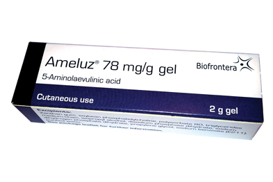 The efficacy and tolerability of Ameluz (5-aminolaevulinic acid) are dependent on the type of light source used following application of the gel