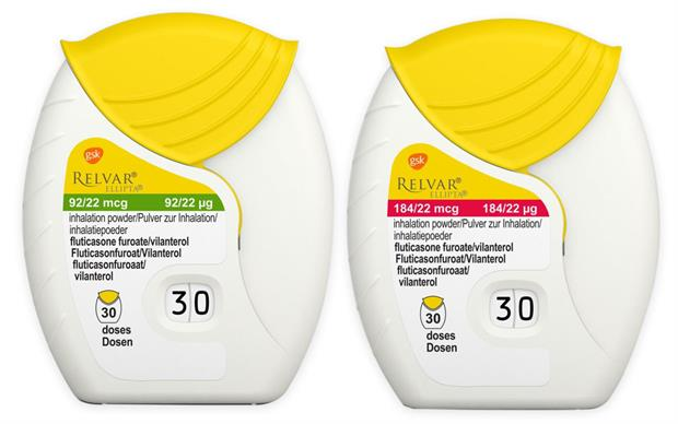 Both strengths of Relvar Ellipta (vilanterol/fluticasone) now have yellow labels and mouthpiece covers.