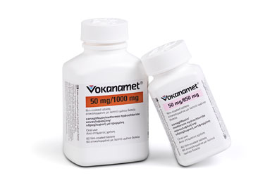 Vokanamet (canagliflozin/metformin) is available as 50mg/850mg and 50mg/1g tablets.