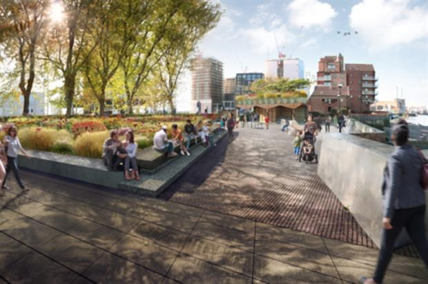 The riverside path stetches from Battersea to Lambeth Bridge: Image: Churchman Landscape Architects